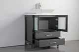 "Vanity Art 30"" Single Sink Vanity Cabinet with Ceramic Vessel Sink & Mirror - Espresso, VA3130E"