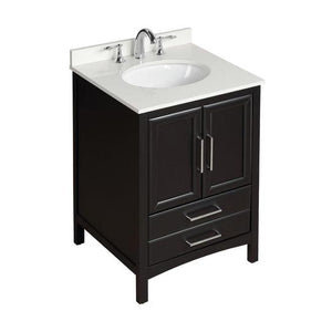 "Vanity Art 24"" Bath Vanity in Espresso with Vanity Top in White Cultured Marble with White Basin, VA3224E"