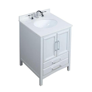 "Vanity Art Rochefort 24"" Bath Vanity in Grey with Vanity Top in White Cultured Marble with White Basin, VA3224G"