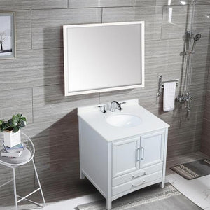 "Vanity Art Rochefort 30"" Bath Vanity in White with Vanity Top in White Cultured Marble with White Basin, VA3230W"
