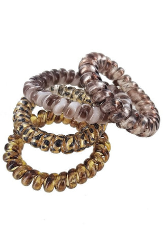 Set of 4 Leopard tele hair ties
