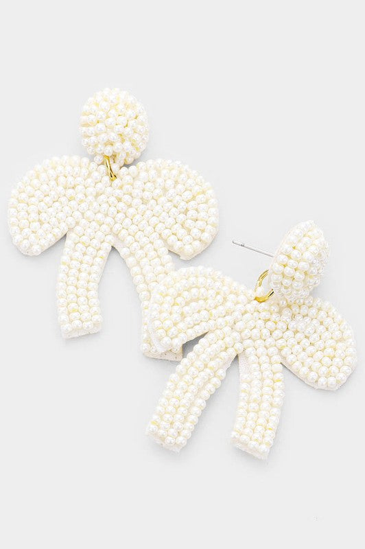 FiFi beaded bow earring White