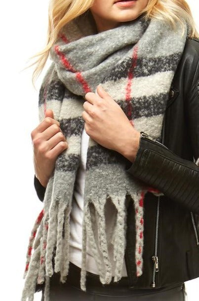 Classic plaid boucle scarf reg $48 Gray