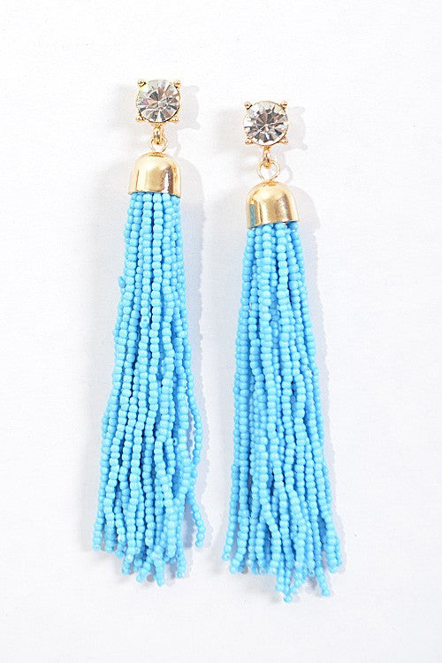 Rhinestone tassel earrings in Turquoise - Pink Pineapple Shop