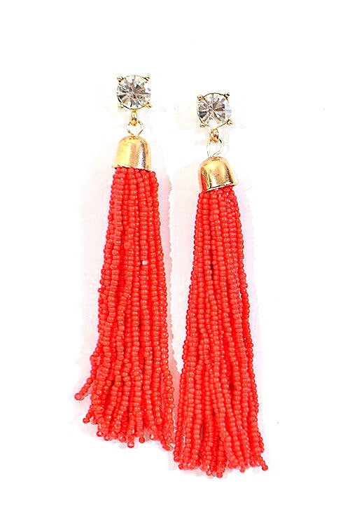 Rhinestone tassel earrings in Coral - Pink Pineapple Shop