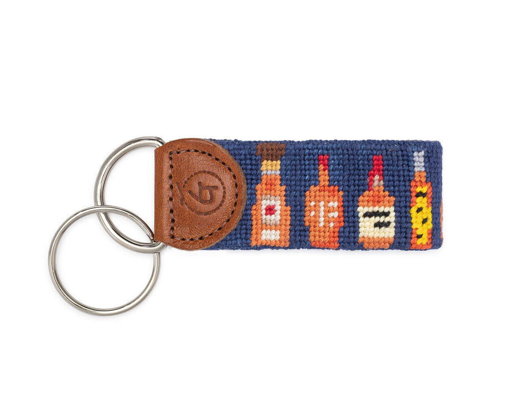 Bourbon Bottles Needlepoint Keychain