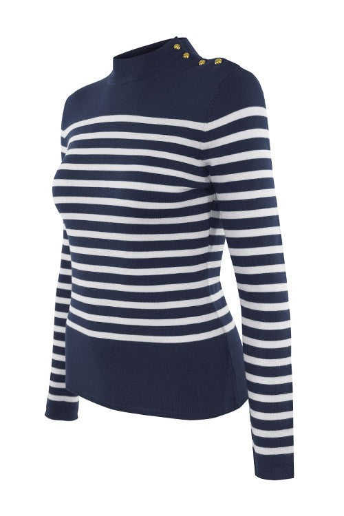 Breton Stripe moc Sweater with gold Buttons ( Navy) - Pink Pineapple Shop
