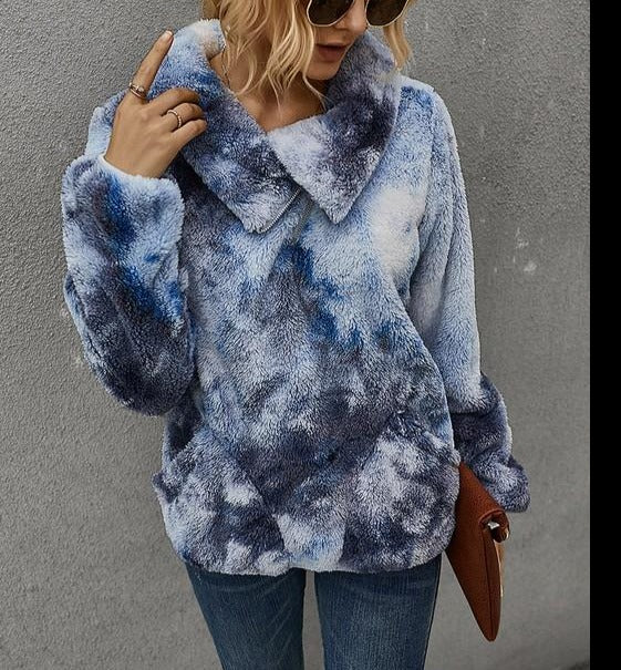 ZIP NECK TIE DYE COZY SHERPA (2 COLORWAYS)