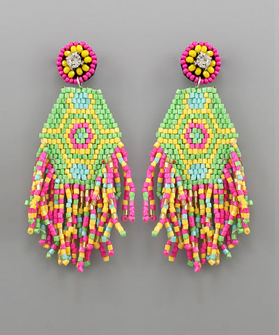 Dancing diamonds beaded earring