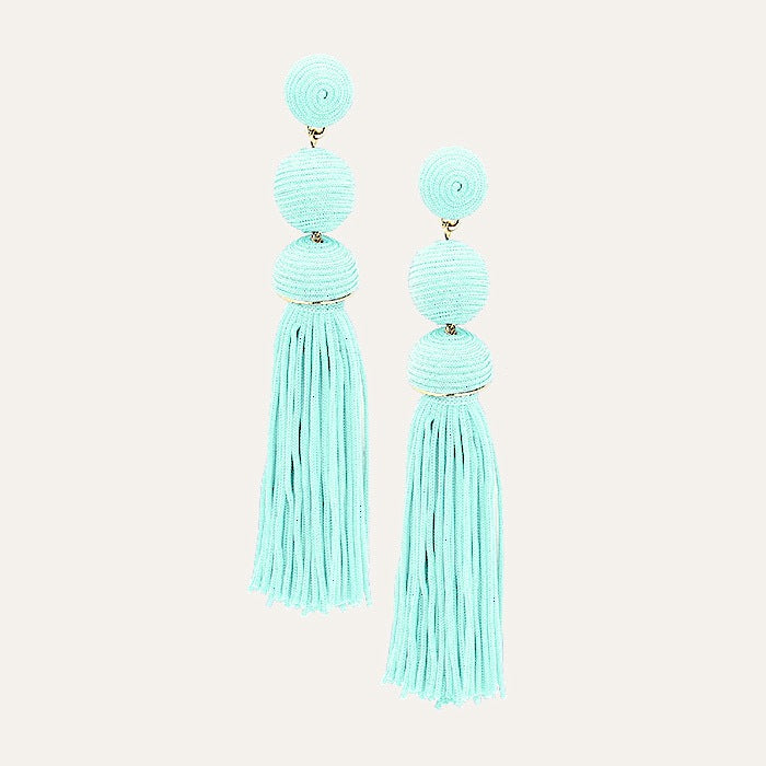 Double Drop tassel earrings in mint - Pink Pineapple Shop