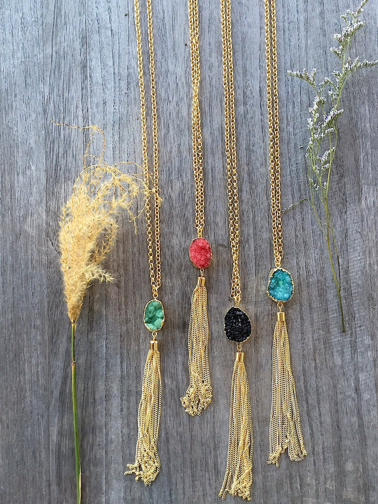 Druzy Tassel necklace - Pink Pineapple Shop