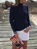 Classic Navy Button neck Pullover - Pink Pineapple Shop