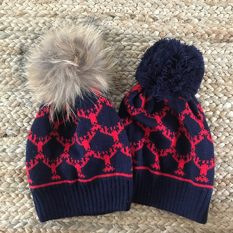 Lobster Pom Pom beanie  Hat Navy/Red