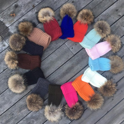Original Pom Pom hats with Natural FUR poms