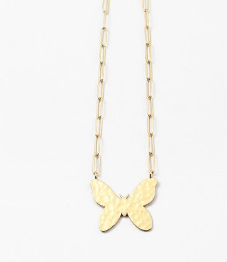 Paperclip necklace with Butterfly charm 17""