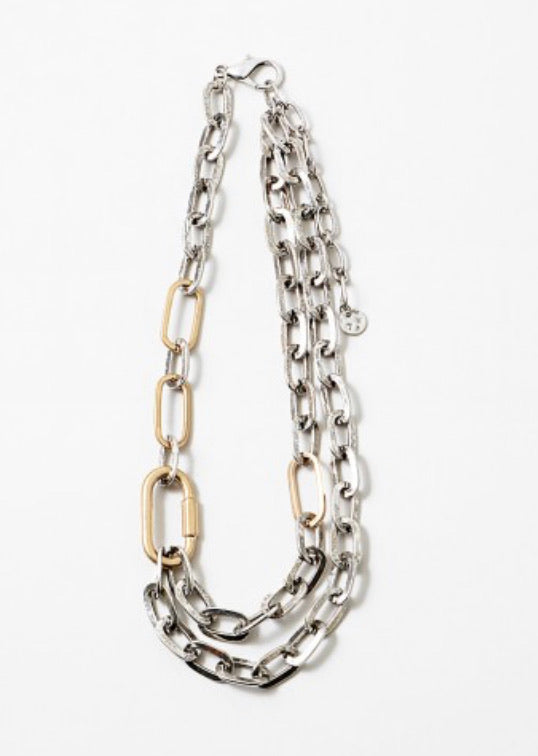 EXCLUSIVE Chunky double chain TWO-TONE carabiner  necklace