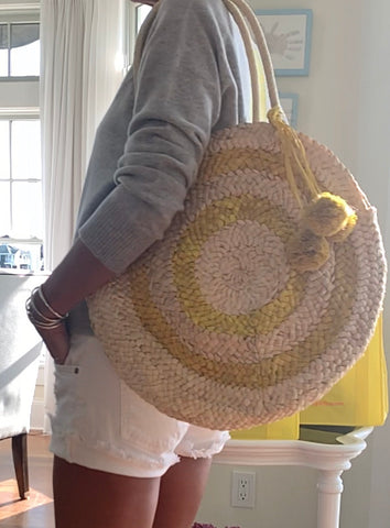 Natural and yellow round  tote