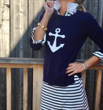Favorite Nautical Anchor Sweater 5% cashmere - Pink Pineapple Shop