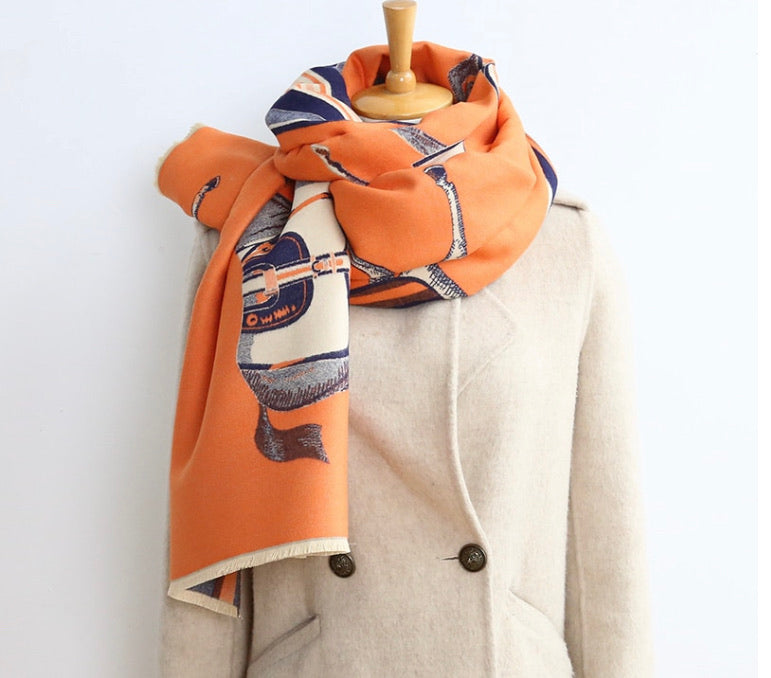 Designer inspired horse scarf/wrap in orange
