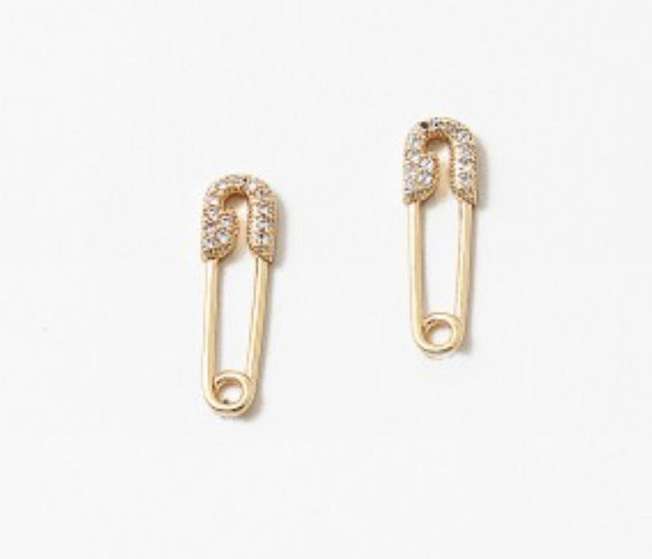 Jenner Gold pave Safety pin earrings