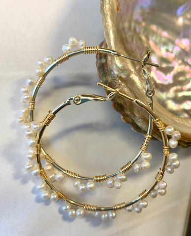 Hand made real pearl hoop earrings