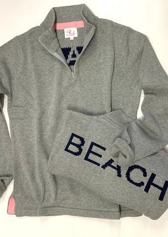 100% cotton BEACH 1/4 zip