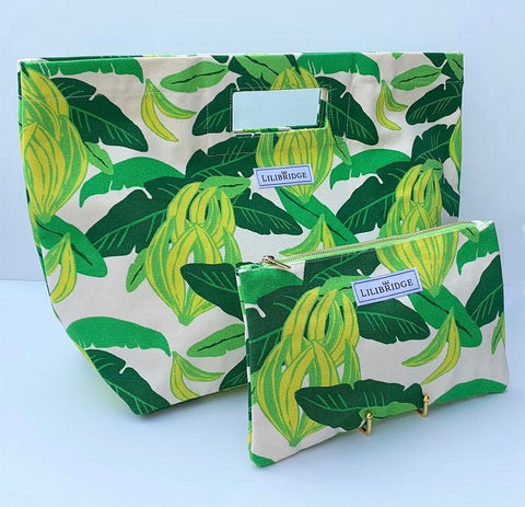 Palm leaf tote and clutch