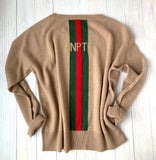 NEWPORT cashmere stripe sweater in CAMEL
