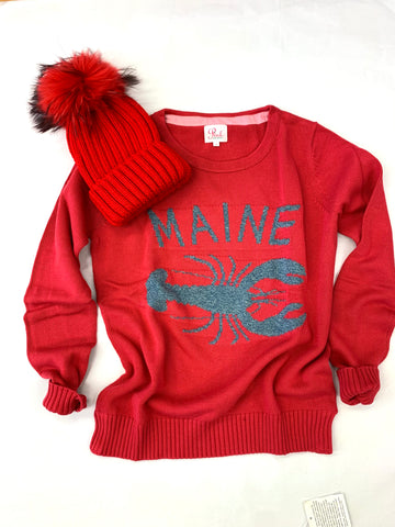 MAINE lobster sweater red with Red pom Hat