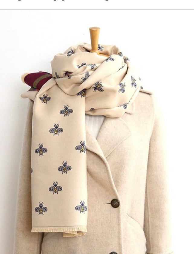 Designer inspired BEE  scarf in Ivory