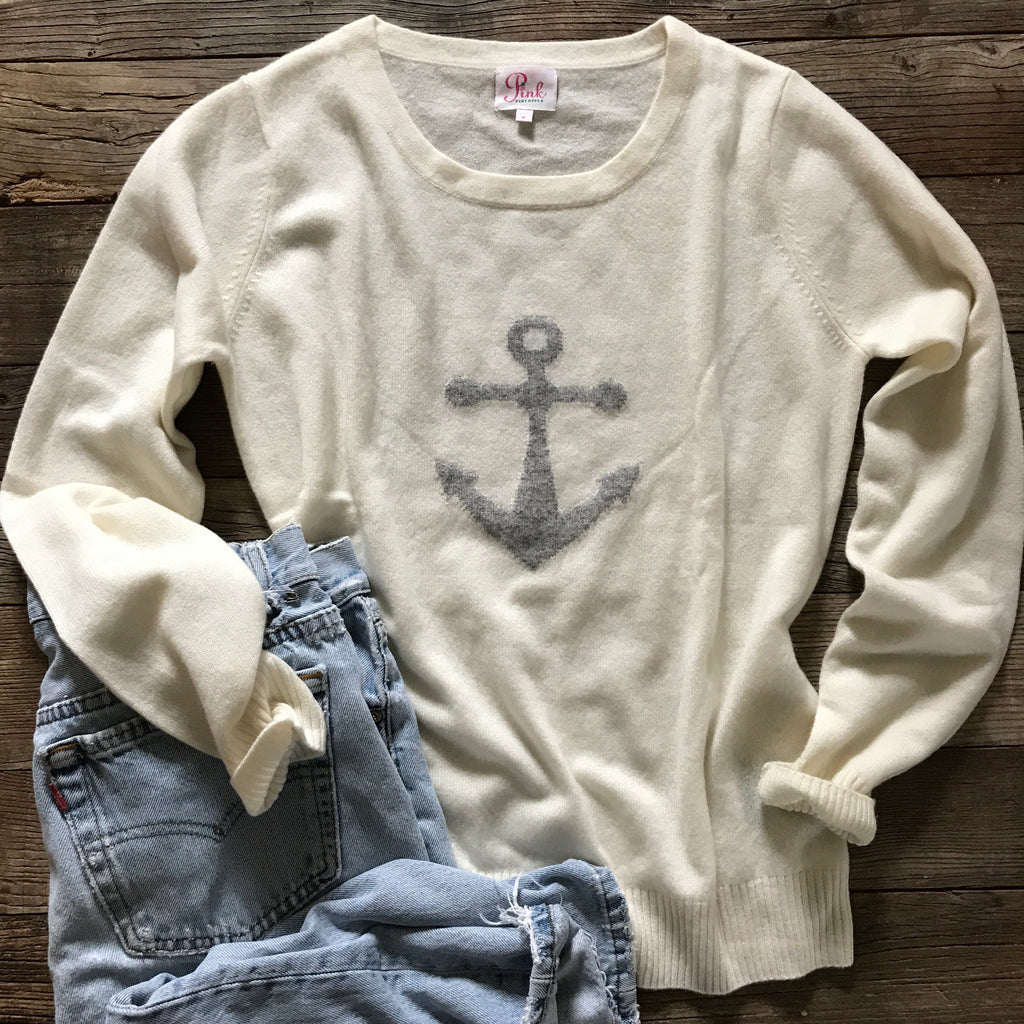 100% cashmere Anchor sweater Ivory - Pink Pineapple Shop
