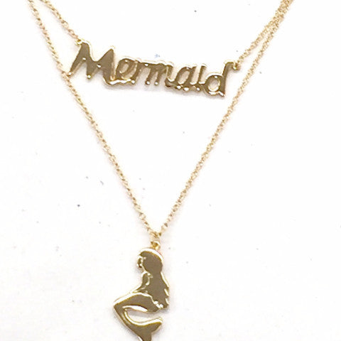 Iconic Mermaid in 14k over sterling and script Mermaid