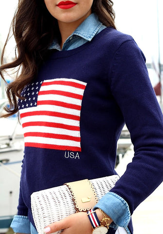 American Flag Sweater Navy