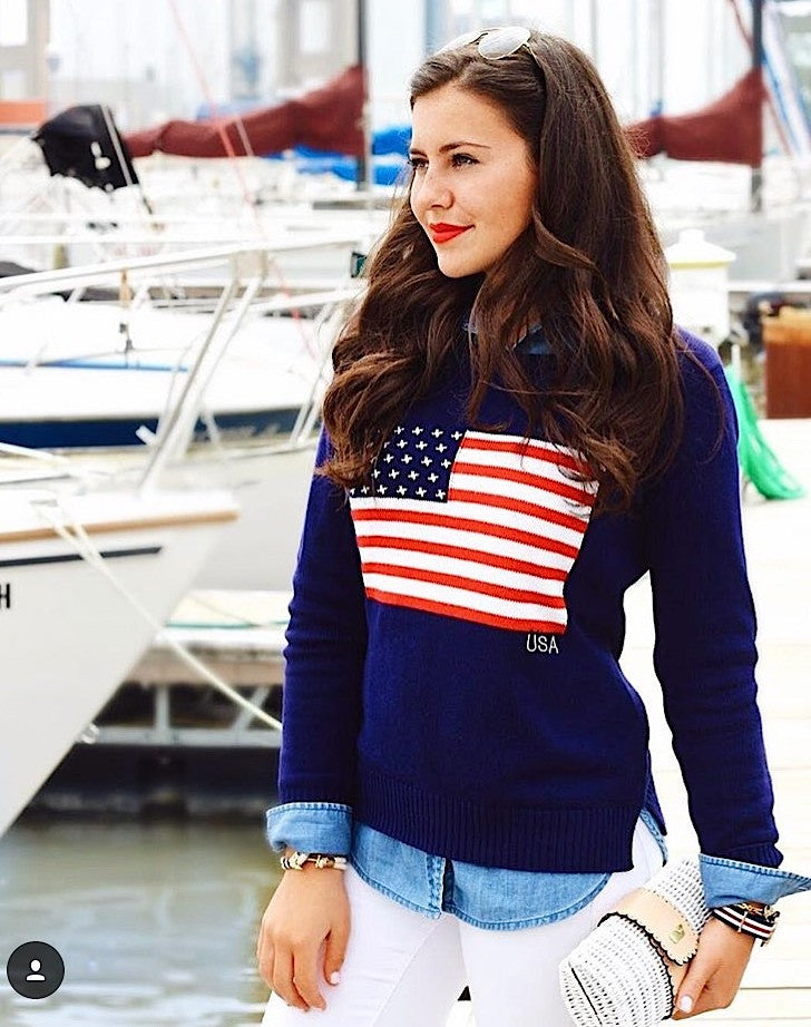 American Flag Sweater Navy - Pink Pineapple Shop