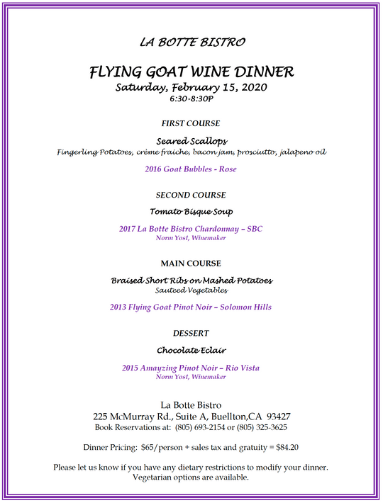 Winemaker Dinner With Norm Yost