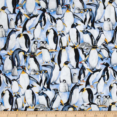 Cotton Print / Stacked Penguins