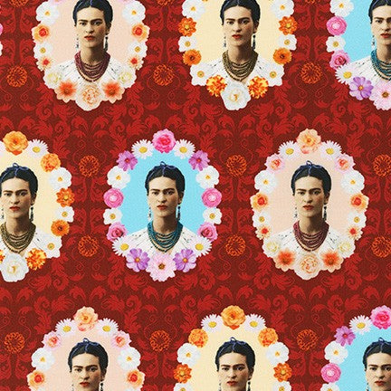 Cotton Print / Frida Wallpaper / Red