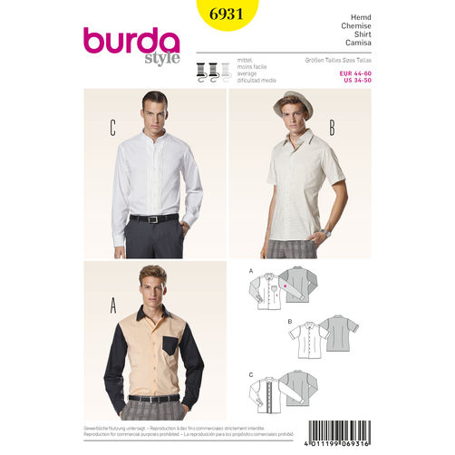 6931 Mens Short + Long Sleeved Button Up Shirts