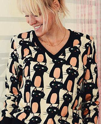 Jersey Knit / Bewitched Kitties / Black