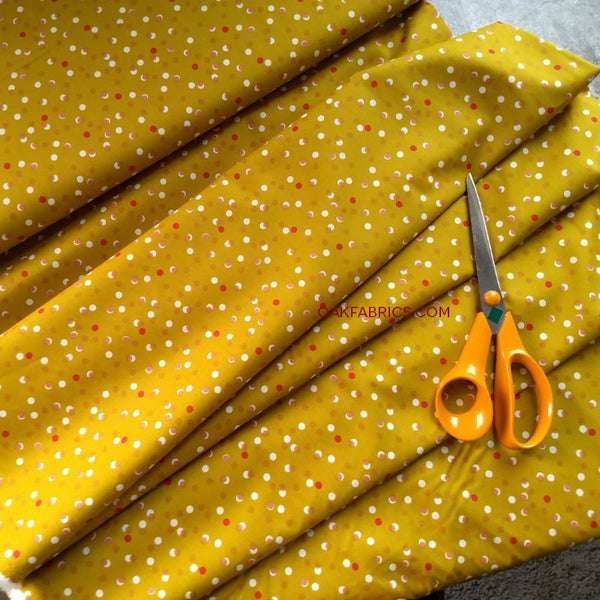 Cotton Lawn / Bubble Dots / Mustard