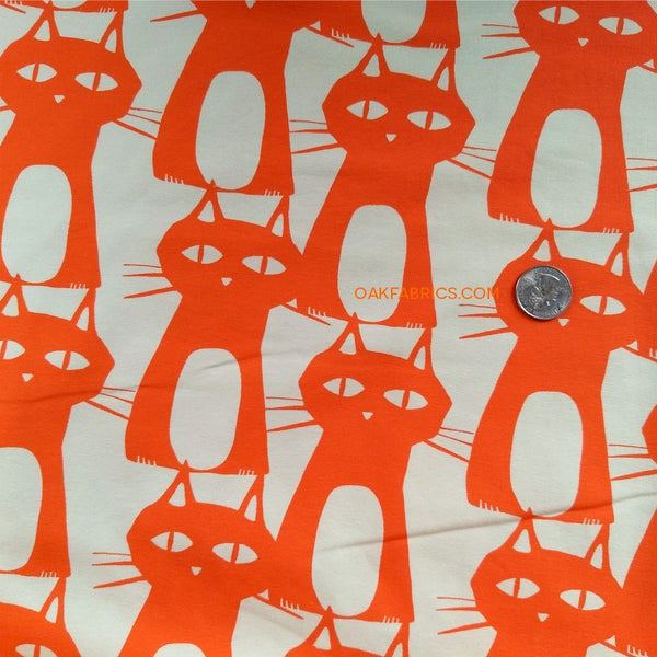 Jersey Knit / Bewitched Kitties / Bright Orange