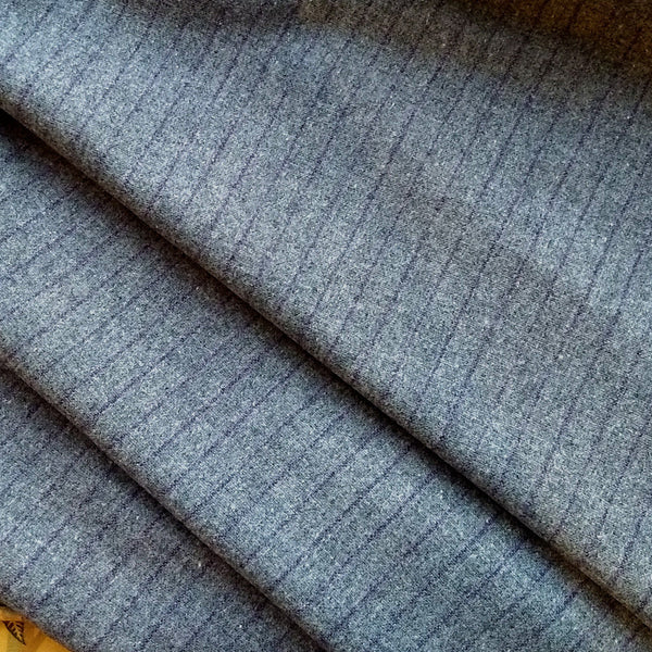 Wool Suiting in Grey Pinstripe