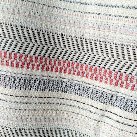Handwoven Blanket Stripe in Red Ivory