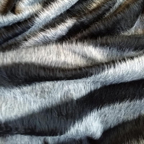 Striped Faux Fur Knit / Black Grey
