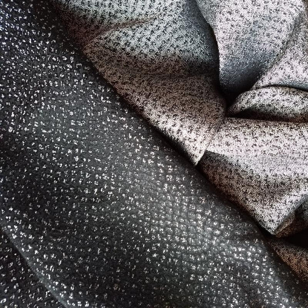 Italian Import Jacquard Suiting / Reversible Black Metallic