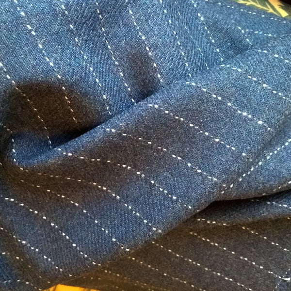 Wool Pinstripe Suiting / Cadet Blue