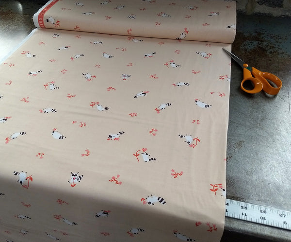 Cotton Print / Tiny Raccoons / Pale Pink