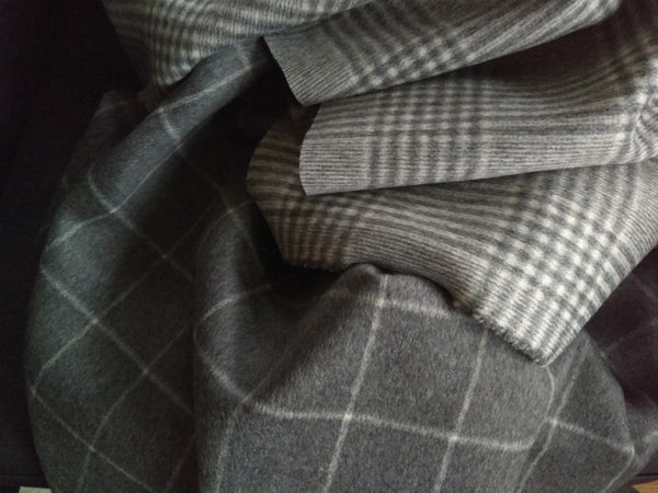 Reversible Wool Coating / Grey Plaid