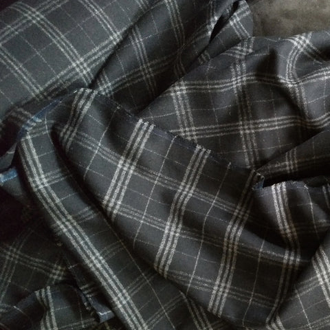 Wool Coating / Black Grey Plaid