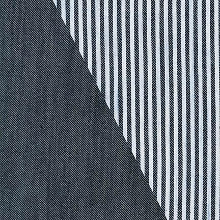 Stretch Denim / Reversible Stripe Indigo